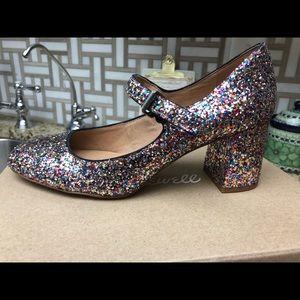 Madewell Glitter Mary Jane Heels